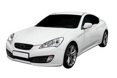 new fast white coupe car isolated