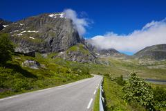 road on lofoten islands in norway with dramatic landscape