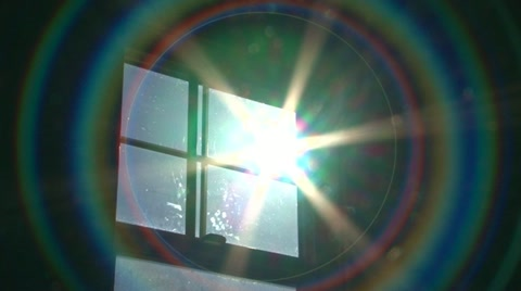 Sun shines bright through window, zoom out with science fiction warp effect.