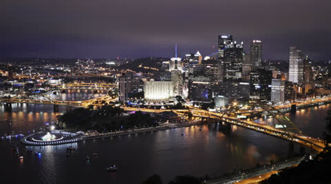 3161 A 4K time lapse of The Point in downtown Pittsburgh, Pennsylvania.