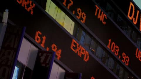 3257 A stock market ticker in Times Square.