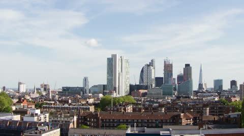beautiful fisheye timelapse of the skyline of london. Very wide shot capturing lots of buildings
