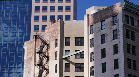 A typical New York-style apartment building establishing shot.