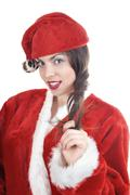 woman in santa claus costume on a white background