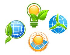 ecology and environment icons set for ecological concept design