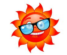 happy red and hot sun in sunglasses. cartoon style