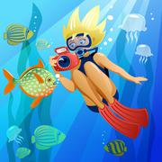 Young diver underwater. In the EPS file, each element is grouped separately.