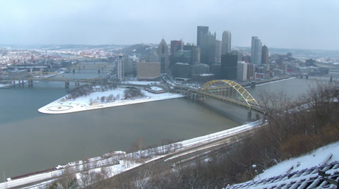 3990 PITTSBURGH, circa February, 2014 - A winter establishing city shot of the skyline of Pittsburgh, Pennsylvania.