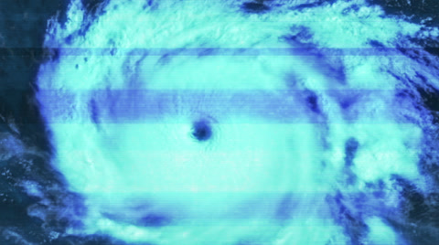 4133 A distorted satellite view of a spinning hurricane.