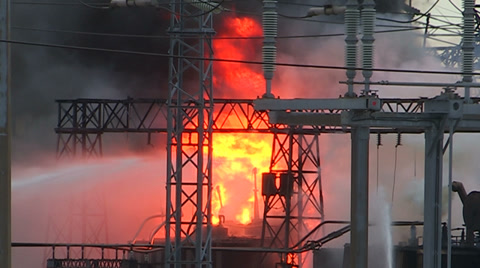 Electrical transformer station explosion and fire
