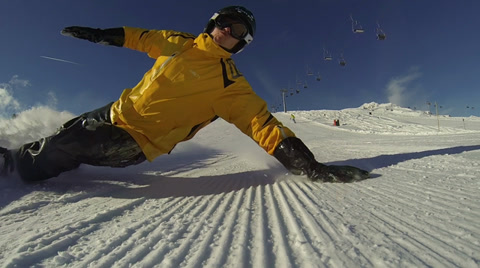 Group Ride. Snowboarding in mountains. 3 man ride over Camera. Full HD 1080p Camera GoPro 3 Black Edition - Slow Motion 60fps. Snowboarding in mountains. Extreme carving. Sunny day. Free flight.
