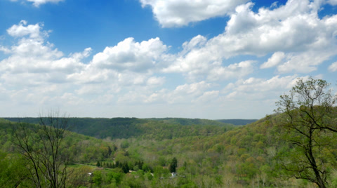 4319 A gentile time lapse view of a Pennsylvania valley on a sunny day.