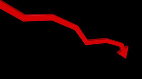 4347 A red 3D arrow heads down.  With optional luma matte.