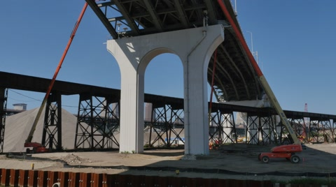 4977 Workers work on the underside of the Hope Memorial Bridge in Cleveland, Ohio.