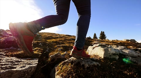 hiking activity outdoors. recreational pursuit. foot steps slow motion.