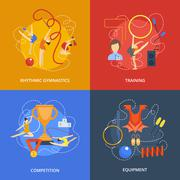 Gymnastics design concept set with rhythmic training competition equipment flat icons isolated vector illustration