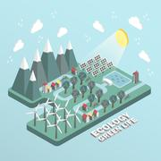 flat 3d isometric ecology green life concept illustration over blue background