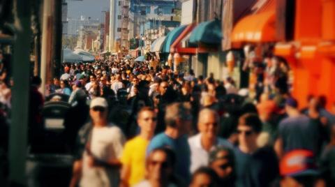 5554 VENICE BEACH, CA - Circa February, 2015 - People crowd the famous Venice Beach Boardwalk.