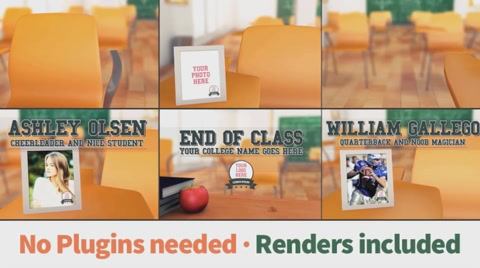 A slideshow of a classroom of high school or college that moves in 3D showing the seats of the students, and each of them have a photo frame to put a text name, a logo and a photo.  Customize it with your favorite photos and surprise your friends.  Featuring · 19 Drag and drop placeholders for your photos (you can expand to unlimited)  · Put your college logo with the photos  · Help file included  · Free fonts  · Modern design for your rememberings and parties  · Sepia and B&W color effects included  Technical specs · No plugins  · After Effects CS4 to CC compatible  · Full HD  · Layered & organized compositions  · Pre rendered scenes included  · Fast renders   Music not included: https://www.pond5.com/stock-music/24435758/optimistic-and-upbeat.html  Photos not included  [b][color #E24D00]Please check out this template to give a nice image of your work or rememberings on a simulated cork wall:[/color][/b]  [item]34403899 prev[/item]