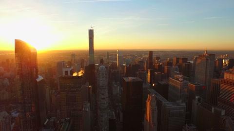 v88 Flying low backwards over Midtown and West Side Manhattan at sunrise. 3/13/15