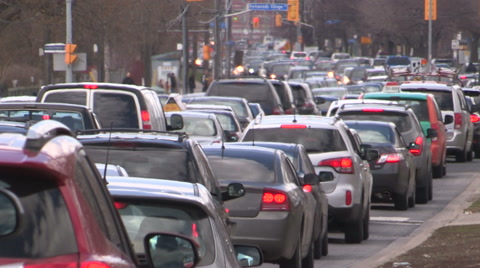 Traffic jam gridlock rush hour in Toronto