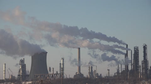 4K Pollution, Smoke from an Industrial Chimney, Thermal Power Plant