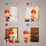 Door Installation Step by Step with Handyman Carpenter. In the EPS file, each element is grouped separately. Clipping paths included in additional jpg format.