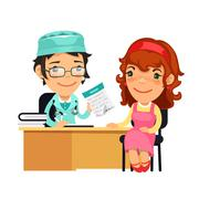 Lady Doctor Giving a Prescription to Her Female Patient. Isolated on white background. Clipping paths included in additional jpg format.
