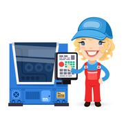 Female Factory Worker is Setting Up CNC Machine. Isolated on white background. Clipping paths included in JPG file.