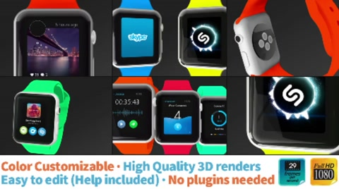 Amazing full HD Smart watch for your app presentations. Captivate and surprise your clients with this professional and colorful project. Modern, fresh, and easy to edit.  No plugins needed, color customizable, and FULL HD 1080p.  Music is not included:  https://www.pond5.com/stock-music/11237185/holograms-skrillex-meets-deadmau5-style-dubstep.html  The GUI of the apps is © watch.janlosert.com  [b][color #E24D00]Check out this previews of the template[/color][/b]  [link]http://i1052.photobucket.com/albums/s453/republicanR3/SmartWatch_APPS_Template_preview4.jpg~original Preview1[/link]  [link]http://i1052.photobucket.com/albums/s453/republicanR3/SmartWatch_APPS_Template_preview1.jpg~original Preview2[/link]  [link]http://i1052.photobucket.com/albums/s453/republicanR3/SmartWatch_APPS_Template_preview2.jpg~original Preview3[/link]  [link]http://i1052.photobucket.com/albums/s453/republicanR3/SmartWatch_APPS_Template_preview5.jpg~original Preview4[/link]