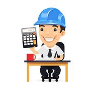Engineer Cartoon Character with Calculator. Isolated on white background. Clipping paths included in JPG file.