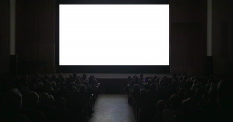 People in cinema hall. Viewers sitting in two rows watching on blank screen