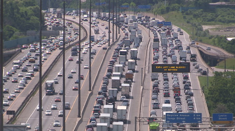 Traffic jam and rush hour commuter gridlock on the 401 in Toronto