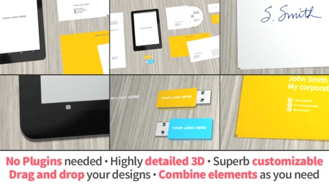"""Video Hero Mock-Up presentation for corporate stationery and also for interactive projects due the incorporation of a 3D tablet pc. CUSTOMIZE IT WITH YOUR OWN LOGOS AND DESIGNS!  Includes  * 6 stationary 3D Elements:  * 1 Tablet * 1 Pen Drive with color options * 1 Double sided envelope with customizable flaps * 1 double sided business card * 1CD with cover and sleeve * 1 business paper * 8 PSD blank templates  Specs  * In 3D. No plugins needed * HELP FILE INCLUDED * Full HD 29fps * Background customizable * Edit camera positions or create static 2D captions for your print projects! * """"Put your logo here"""" zone also in 3D * Easy design customization. Drag and drop. * Editable 3D tablet contents screen with color skin. * Clean and well organized design  Music: [link]http://www.pond5.com/stock-music/25273463/progressive-massive-commercial-1.html[/link]  Any question? Do you need corporate print design? please contact me."""