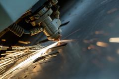 Image of laser cutting the metal sheet, close-up