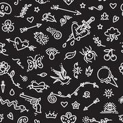 Old School Tattoo Seamless Pattern on Dark. Editable pattern in swatches. Clipping paths included in JPG file.