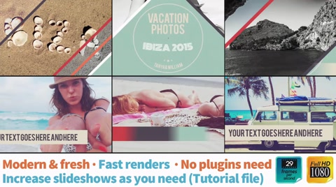"""A colorful and modern photo presentation on a video template for enrich your photos and memories.  Easy to use and to increase photo holders. A help file is included.  * Full HD@29fps * Add vivid and fresh tone colors to your photos (Help file included) * Just drag and drop photos to the template * No plugins needed * Quick renders * 10 photoholders (you can increase this number)  Music by """"Carlsbro"""" not included:  https://goo.gl/8LsXEI"""