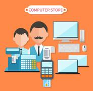 Modern computer store concept flat design. Electronic shop, tv retail, keyboard and laptop, dealer and cash register, business technology, sale and marketing, market commerce illustration
