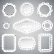 White Christmas Lights Frames with a Copy Space for Celebratory Design. Used pattern brushes included.