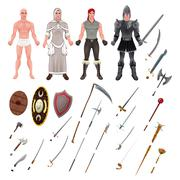Medieval Avatar with Armors and Weapons. Isolated objects, vector illustrator..