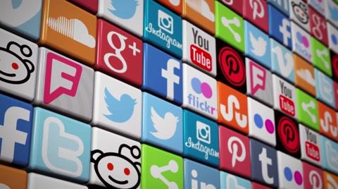 Social Media Wall - color flooring social media icons Facebook Twitter YouTube Instagram LinkedIn Tumblr Google + Pinterest Flickr Reddit