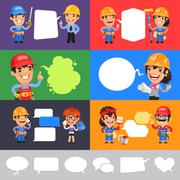 Set of a Speaking Cartoon Builders with Speech Bubbles. Clipping paths included in jpg format.