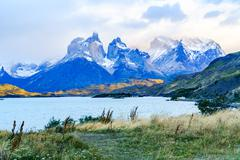 View of Cuernos del Paine from lake Pehoe in the early morning