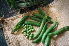Green peas close up viewon sack