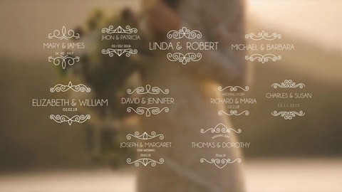 After Effects wedding titles template for professional videography projects. Choose from a variety of vintage and modern titles to add as openers to your cinematic wedding videos. Simply customize the text and import your background video.