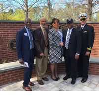April 2017: Recent 50th year celebration of the first PA graduates. Duke PAP. Ceremony at The Dr. Eugene Stead Center. L-R: john Davis Earl Echard Dawn Morton-Rias. Lovest Alexander James Carter.