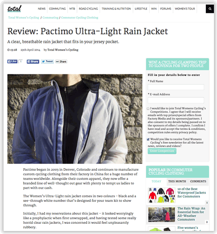 Cycling Rain Jacket Review - totalwomenscycling.com