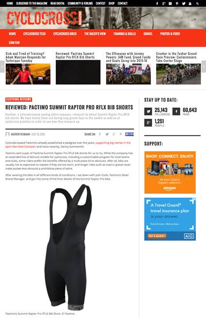 Pactimo Summit Raptor Pro RFLX Bib Shorts