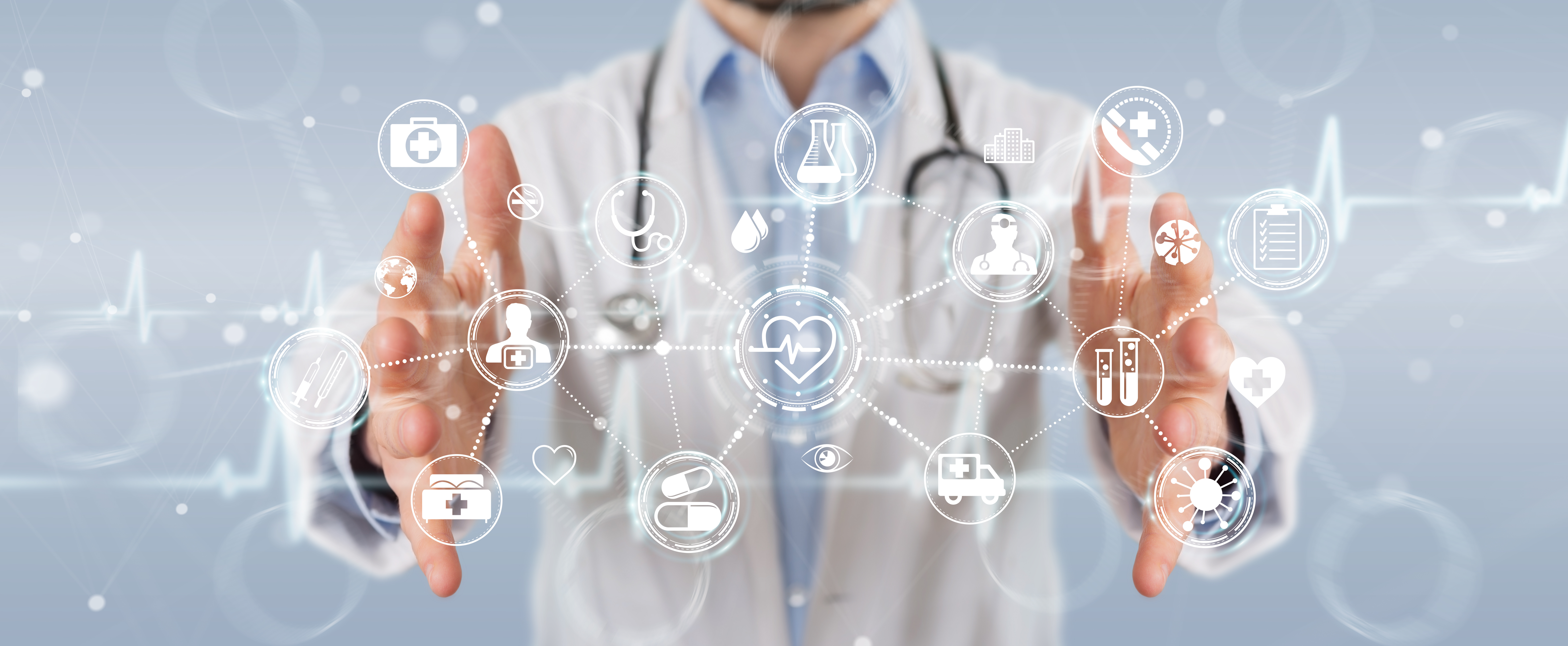 Doctor on blurred background using digital medical futuristic interface 3D rendering