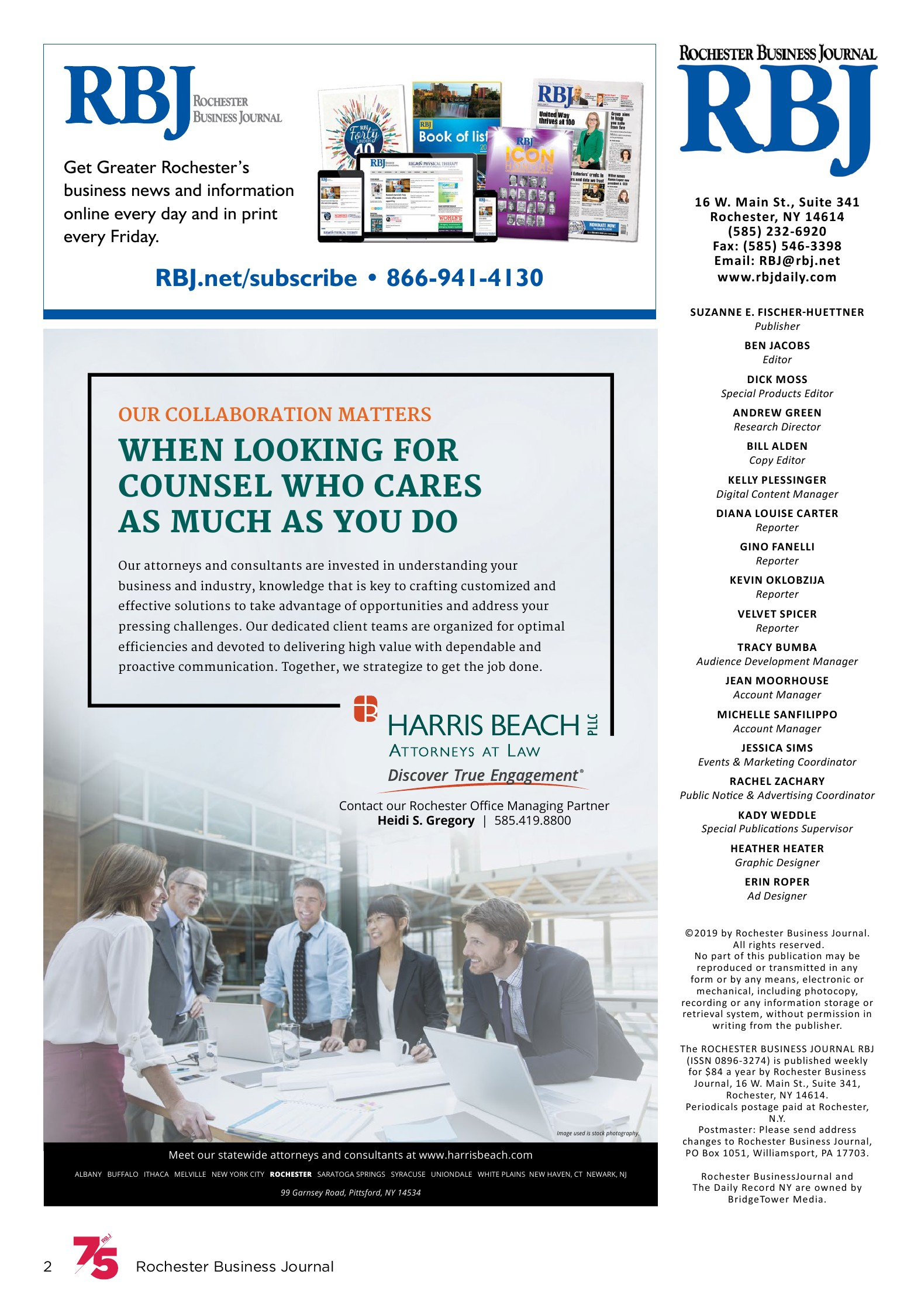 2019 RBJ 75   Rochester Business Journal